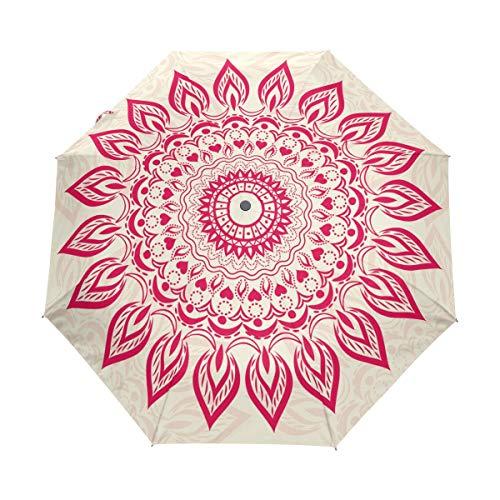 (FAJRO Ornamental Round Pattern Three fold Travel Umbrella Automatic Umbrellas for Rain)