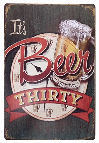 ERLOOD It's Beer Thirty Vintage Funny Home Decor Tin Sign Retro Metal Bar Pub Poster 8 x 12 ()