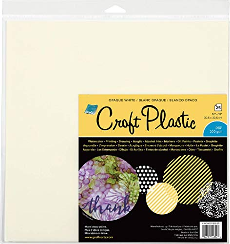 "Grafix KOWCP125 Craft Plastic Sheets 12""X12"" 25/Pkg-Opaque White .010, Multi"