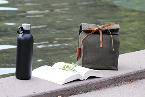 Waxed Canvas Lunch Bag, Handmade,Real Leather, , Lunch Tote, Classic Paper Bag Style, Assorted colors, Eco-friendly Cotton, Reusable, Durable, Waterproof, Lunch Bag, Lunch Box, Picnic,