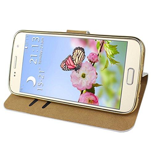 Galaxy S7 Carcasa Tapas, Moon mood Bling Sparkly Galaxy S7 Funda Piel de Cuero con Capas Suave TPU Silicona Caso Móvil Protectora Cubierta Flip Folio Kick Stand Case Para Samsung Galaxy S7 SM-G9300 Li B Dorado