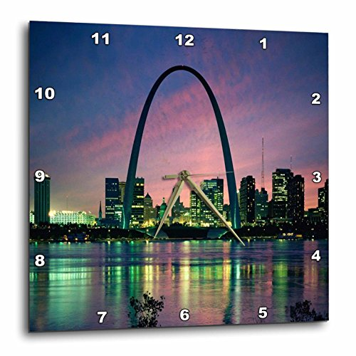 3dRose St Louis Missouri Arch at Nite - Wall Clock, 15 by 15-Inch - Missouri Outlet Louis St