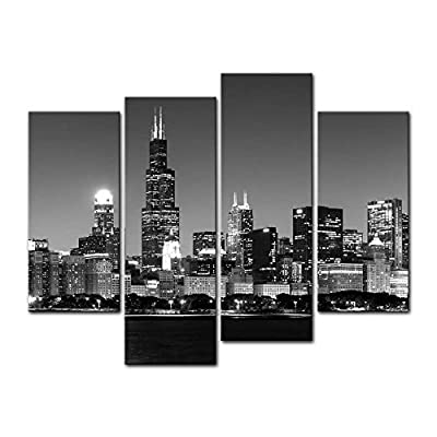 Wall Art Decor Poster Painting On Canvas Print Pictures 4 Pieces Panoramic View Of Chicago Skyline At Night In Black And White Place Cityscape Framed Picture For Home Decoration Living Room Artwork