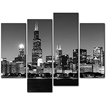 Beau 4 Pieces Modern Canvas Painting Wall Art The Picture For Home Decoration  Panoramic View Of Chicago