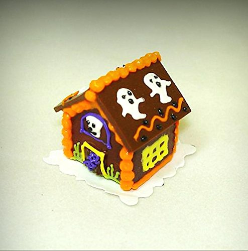 Handcrafted Halloween Ghosts Gingerbread Haunted House Miniatures for Dollhouse - My Mini Garden Dollhouse Accessories for Outdoor or House -