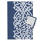 Arabesque Breezy Loose Wide Navy Blue Rough Italian Tea Towels Arabesque_Linen_Blue by Chicca Besso Set of 2 Linen Cotton Tea Towels