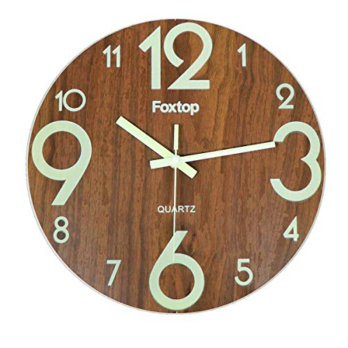 Foxtop Vintage Rustic Country Tuscan Style 12 Inch Wooden Night Light Function Silent Non-Ticking Wall Clock, Dark Brown (Large Numbers)