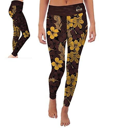 Adelphi University Panthers Womens Yoga Pants Hawaiian Flower Design (Large)