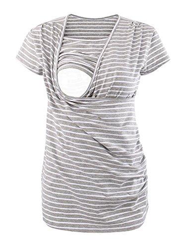 Ecavus Women's Ruched Side-Shirred Nursing Top Short Long Sleeve Breastfeeding Tee Shirt ()