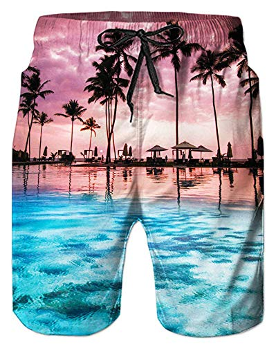 Alistyle Mens 3D Print Graphic Medium Length Summer Casual Swim Workout Shorts with Pockets