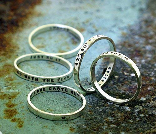 (Personalized Stacking Poesy Ring, thin hand stamped sterling silver or 14ky gold band)