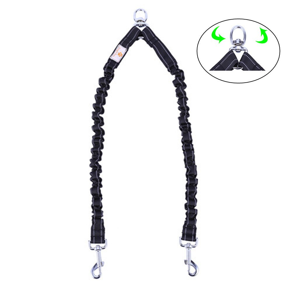 Snagle Paw Tangle Free BungeeX2 Double Dog Leash Coupler, 360° Swivel No Tangle Dual Dog Walking & Training Leash|30-100lbs|, Comfortable Shock Absorbing Reflective Lead by C Walk 2 Dogs with Ease