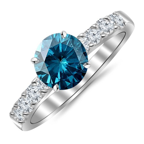(1.25 Carat 14K White Gold Classic Prong Set Diamond Engagement Ring with a 0.75 Carat Blue Diamond Center (Heirloom)