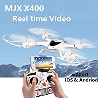 MJX X400-V2 2.4GHz 6-Axis Gyro Drone RC Quadcopter With Headless Mode/One-key Landing/Throttle Limit Mode/3D Flip and Roll (With C4005 WiFi Camera)