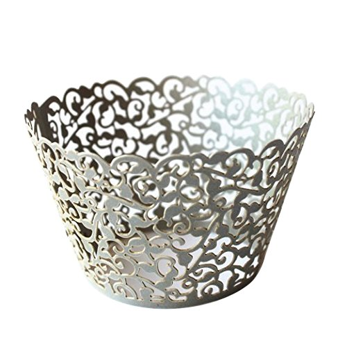 Gospire 50 pcs Pearl Lace Filigree Wedding Cupcake Wrapper Baking Cake Cups Wraps Party Decoration Laser Cut Silver Gray