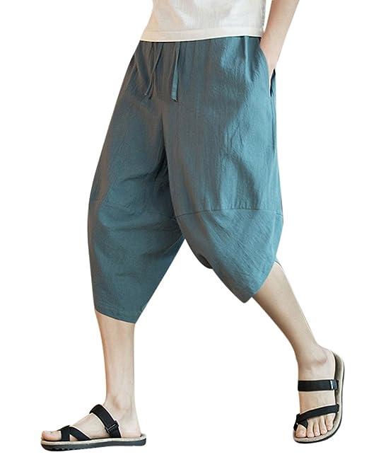 DianShaoA Holgados Casual Pantalones Harem De Lino Hombre Pantalones Cagados Con Cómodo Cinturón Elástico WcQFexeV