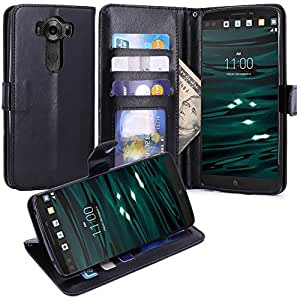LG V10 Case, LK [Kickstand Feature] LG V10 Wallet Case, Luxury PU Leather Case Flip Cover Built-in Card Slots & Stand For LG V10, Black