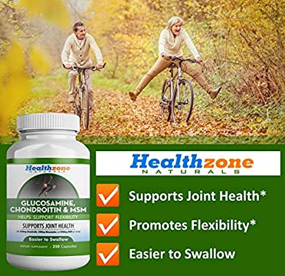 Glucosamine Chondroitin MSM - 250 Capsules - Extra Strength Joint Support Supplement - Relieve Sore Knee, Hip, Finger, Wrist, Elbow, Shoulder, Lower Back Pain - Non-GMO Formula