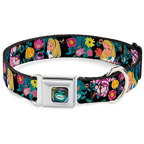 Dog Collar Seatbelt Buckle Alice Cheshire Cat Flowers Poses Black Multi Color 18 to 32 Inches 1.5 Inch Wide]()