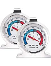 Anvin Refrigerator Thermometers Large Dial Freezer Thermometer with Dual-Scale -30~30°C/-20~80°F for Freezer Refrigerator Cooler, Hooks or Stands Alone Thermometers Durable Steel (Pack of 2)