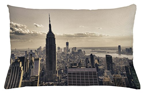 New York Throw Pillow Cushion Cover by Ambesonne, Aerial View of NYC in Winter American Architecture Historical Popular Metropolis, Decorative Accent Pillow Case, 26 W X 16 L Inches, Beige - Popular Stores Nyc In