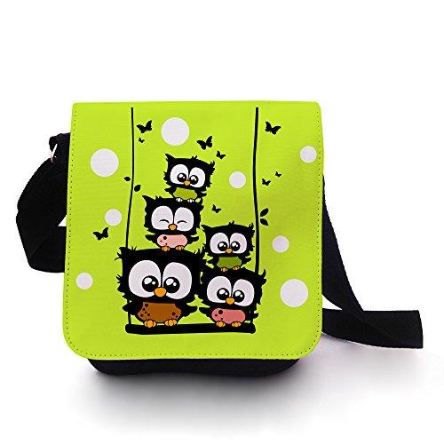 Eulentasche Tasche Kindertasche Handtasche Schultasche Schultertasche Eulen auf Schaukel mit Schmetterlingen grün weiß gepunktet kt100