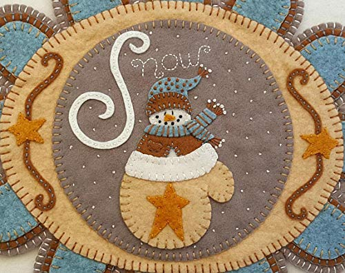 Warm Woolen Mitten Penny Rug Kit Pre Cut and Pre Washed Applique Kit Mitten Pattern ()