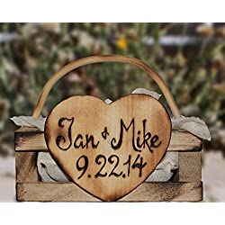 Rustic Personalized Wedding Ring Bearer Pillow Box Alternative Handmade Wood Lucky Bee