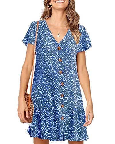 Dot V Neck Button Down Ruffles Casual Loose Swing Short Mini T-Shirt Dress(Small, Z-Blue) ()