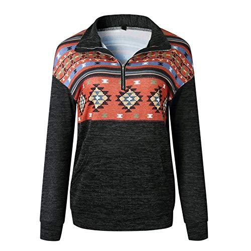 Voopptaw Women's Half Zip Sweatshirt Casual Aztec Print Long Sleeve Pullover Top with Pocket