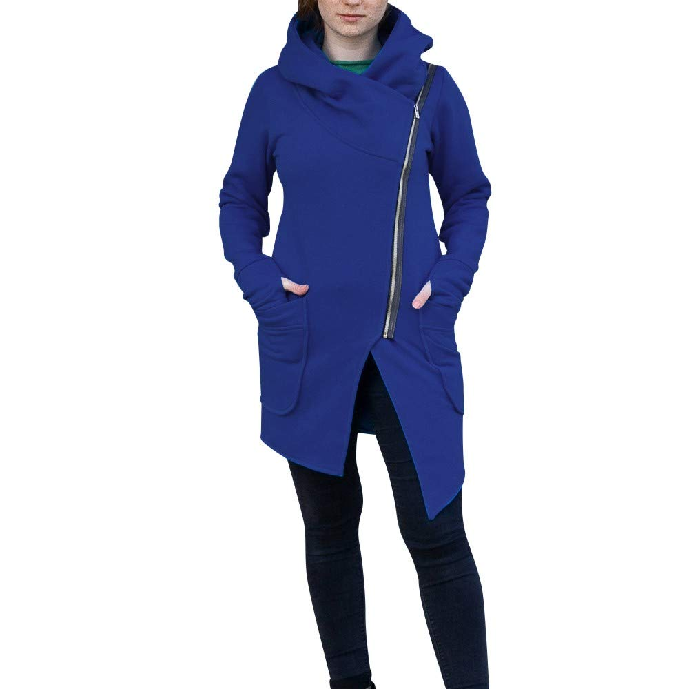 Winter Coats for Women Sale! Chaofanjiancai Irregular Bow Zippers Sleeve Long Warm Coat Wool Jacket Parka Windbreaker (M, Z-Blue Hooded) by Chaofanjiancai_Coat