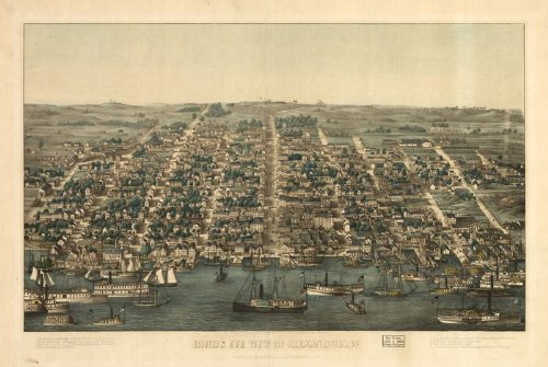 Historic Panoramic Map Reprint: Birds eye view of Alexandria, Va. 1863 36 x 24