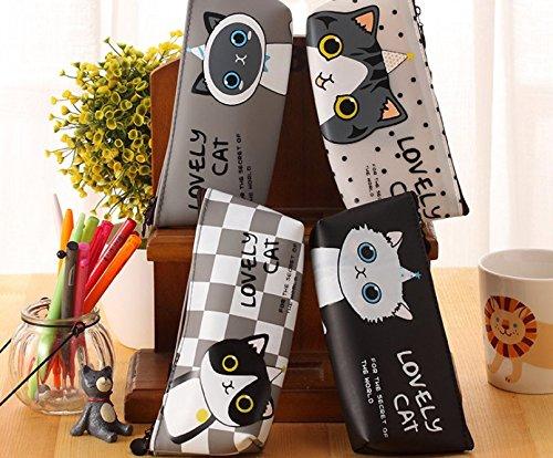 (ZICOME Set of 4 Adoarable Cat Style Memories Pastorable Pencil Case Coin Makeup Bag Purse Case)