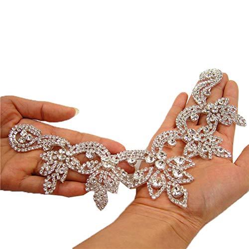 Delicate V-Neck Neckline Crystal Applique Iron on Diamante Appliques Bling Trims for Wedding Dresses Bridal Headband