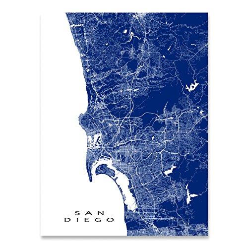 San Diego Map, California, CA, USA City Wall Art Print (Decor Diego San Garden)