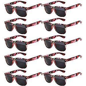 Vintage Retro Eyeglasses Sunglasses Smoke Lens 10 Pack Colored Colors Frame OWL (Flowers_Red_10_Pairs, PC Lens)