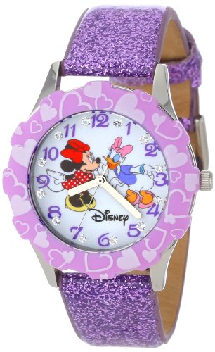 "Disney Kids' W000916 ""Tween Minnie Glitz"" Stainless Steel Watch with Purple Glitter Band"