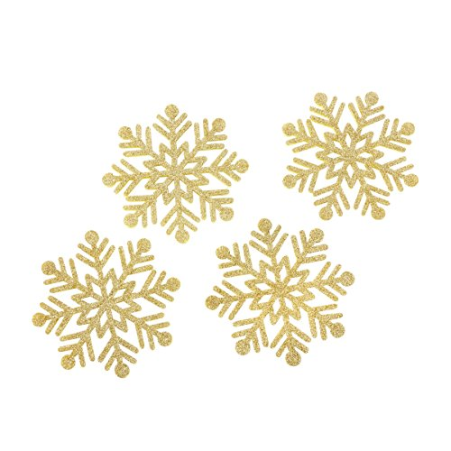 Kate Aspen Glitter Snowflake Felt Coasters (Set of 4), Gold