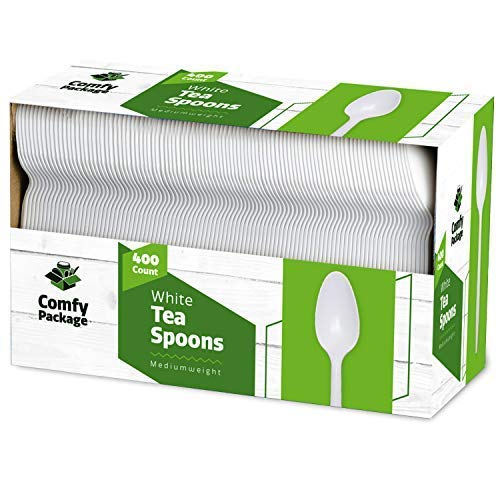 400 Light-Weight White Disposable Plastic Tea Spoons