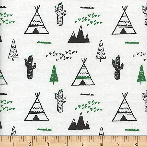 Mook Fabrics USA LP Flannel Snuggy Teepee/Cactus Fabric, Green/White, Fabric By The Yard