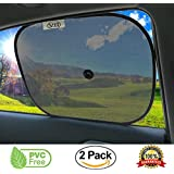 VII Supplies Car Sun Shades For Kids - 2 Pack Car Window Blinds - Fits Front and Rear Windows For Maximum UV Protection - Bonus Suction Cups Set - Car window shades for Baby, Toddlers, Kids and Pets