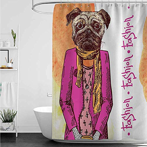 home1love Shower Curtain,Pug Fashion Icon Dog with Cool Clothes Scarf Necklace Jacket Handbag Tainted Background,Fashionable Pattern,W72x84L,Hot Pink Amber