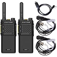 Zastone V77 Walkie Talkie, 16 Channel UHF 400-470MHz Handheld Two Way Radio Transceiver + Air Tube Headset (2 pack)+ Program Cable