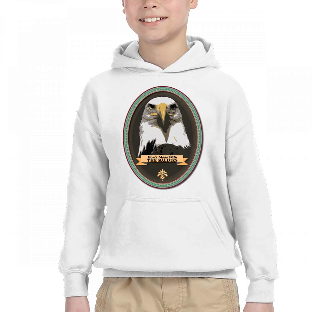 Children Bald Eagle Head Portraits Contrast Color Hoodie Sweatshirt Pocket by NaNa Home