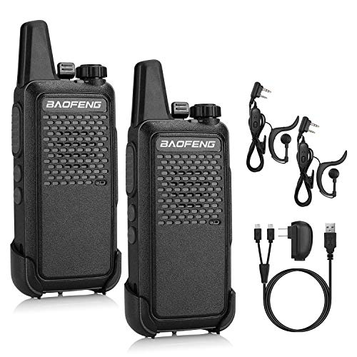 BAOFENG GT-22 FRS Two Way Radio License Free, 1500mAh Battery, Handsfree Rechargeable Portable Walkie Talkie, 16 CH VOX, Micro USB Charging, Earpiece, 2 Pack