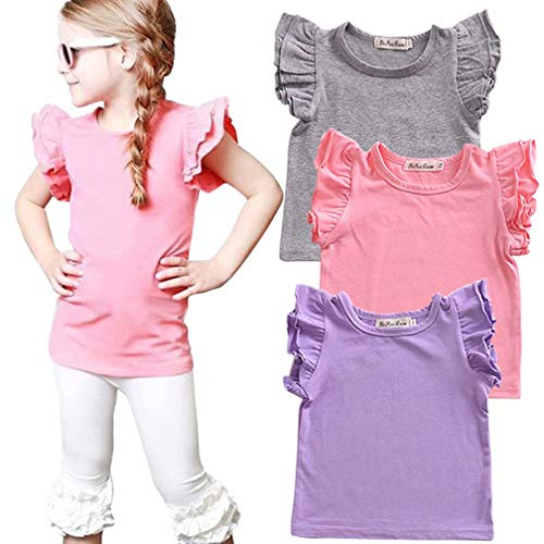 EGELEXY Toddler Baby Girl Basic Plain Ruffle Tee Little Girls Sleeve Short Cotton T Shirts Tops Tee Casual Clothes Size 12-18 Months/Tag80 (Pink) ()