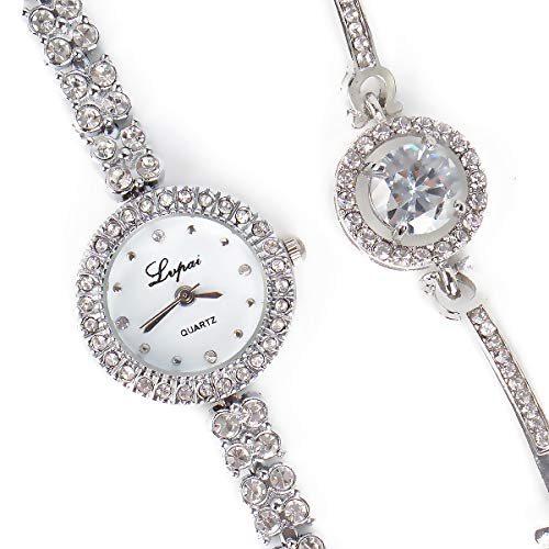 Round Luxury Women Watch Crystal Rhinestone Diamond Watches Stainless Steel Wristwatch with Fashion Bangle