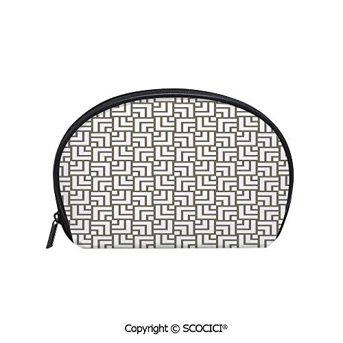 SCOCICI Durable Printed Makeup Bag Storage Bag Mysterious Vintage Maze Modern Shape in Squares Lines Art Print for Women Girl Student