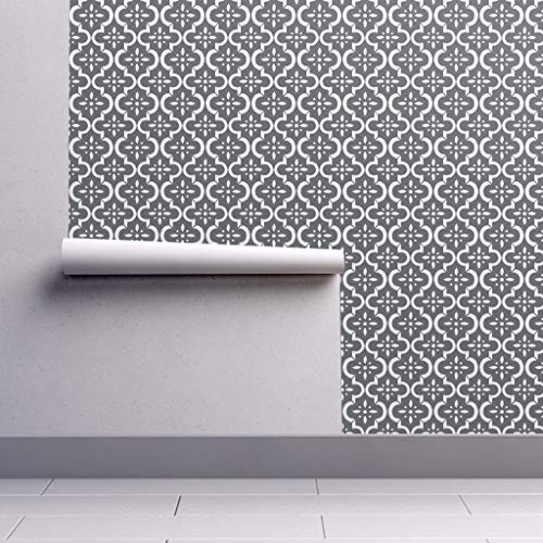 Peel-and-Stick Removable Wallpaper - Modern Gray Charcoal Gray Gray Trellis Grey Ikat Organic Kni by Sugarfresh - 24in x 144in Woven Textured Peel-and-Stick Removable Wallpaper Roll