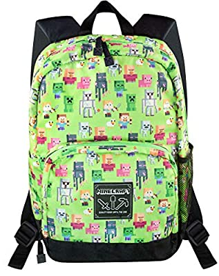 Minecraft Steve Overworld Sprites Green Backpack Polyester Rucksack
